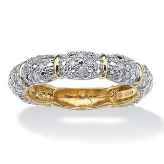 18k Yellow Gold over Sterling Silver 1/10ct TDW Diamond Stackable Eternity Band (G-H, I2-I