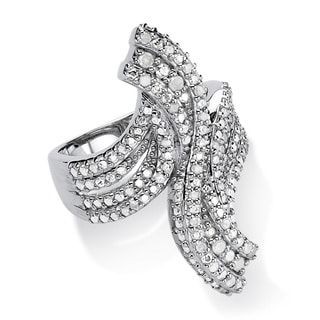Platinum over Sterling Silver 1/4ct TDW Ice Diamond Elongated Swirl Ring (H-I, I2-I3)