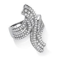 Platinum over Sterling Silver 1/4ct TDW Ice Diamond Elongated Swirl Ring (H-I, I2-I3)