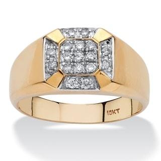PalmBeach 10k Yellow Gold Men's 1/4ct TDW Diamond Cross Ring (H-I, I2-I3)
