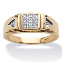 10k Yellow Gold Men's 1/10ct TDW Diamond Grid Pattern Band