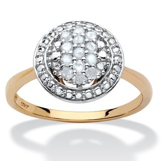 10k Yellow Gold 1/4ct TDW Diamond Cluster Halo Engagement Ring (H-I, I2-I3)