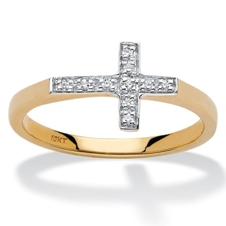 10k Yellow Gold Diamond Accent Horizontal Cross Ring
