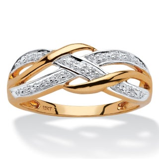 10k Yellow Gold Diamond Accent Braided Crossover Ring (5 options available)