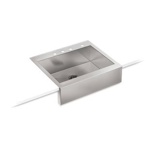 Kohler Vault Top Mount Stainless Steel 29.75x24.313x9.313 4-Hole Single Bowl Kitchen Sink