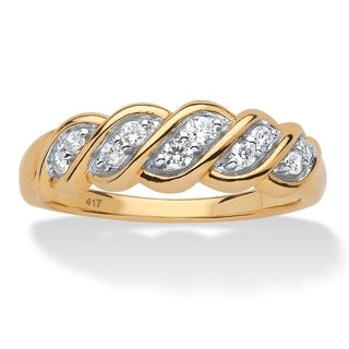 10k Yellow Gold 1/5ct TDW Diamond Twisted Vine Ring