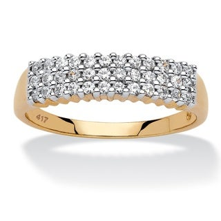 10k Yellow Gold 1/3ct TDW Diamond Cluster 3-row Band (H-I, I2-I3)