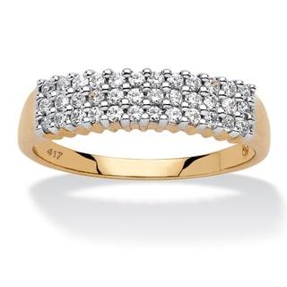 10k Yellow Gold 1/3ct TDW Diamond Cluster 3-row Band (H-I, I2-I3)