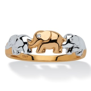 10k Yellow Gold Diamond Accent Two-tone Elephant Ring