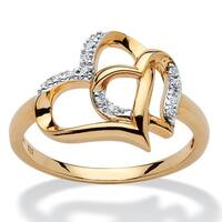 18k Yellow Gold over Sterling Silver Diamond Accent Interlocking Heart Ring