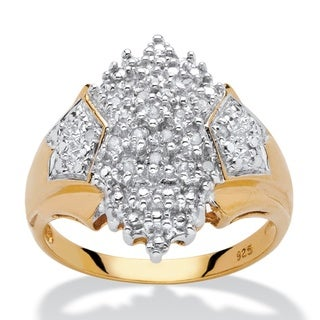18k Yellow Gold over Sterling Silver 1/10ct TDW Diamond Cluster Ring