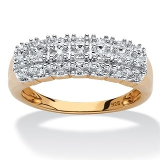 18k Yellow Gold over Sterling Silver Diamond Accent Cluster Ring