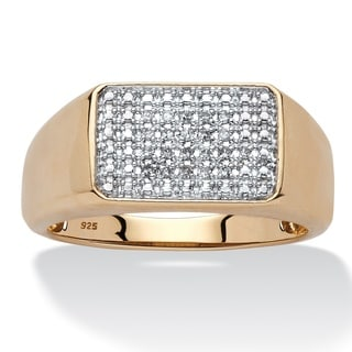 PalmBeach 18k Yellow Gold over Sterling Silver Men's 1/10ct TDW Diamond Cluster Square-back Band (H-I, I2-I3)