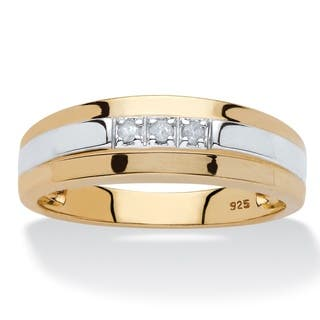 18k goldsilver mens diamond accent band - Mens Gold Wedding Rings
