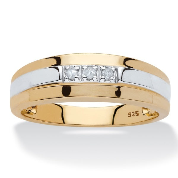 Shop 18k Gold Silver Men S Diamond Accent Band On Sale Ships To