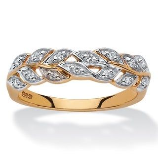 PalmBeach 18k Yellow Gold over Sterling Silver 1/10ct TDW Round Diamond Marquise Leaf Ring (H-I, I2-I3)