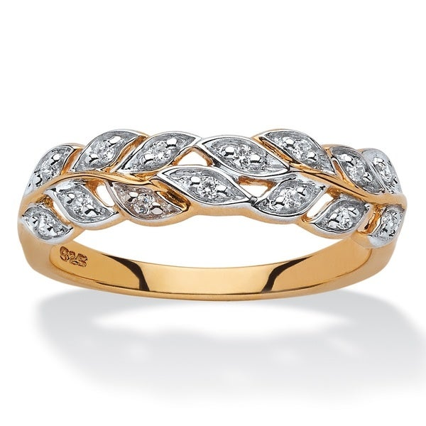 18k Yellow Gold over Sterling Silver 1/10ct TDW Round Diamond Marquise Leaf Ring