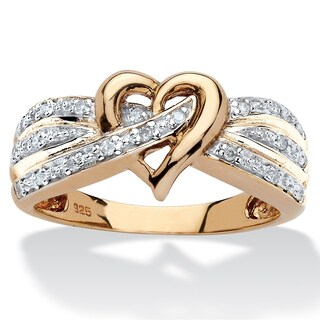 18k Yellow Gold over Sterling Silver 1/10ct TDW Round Diamond Crossover Heart Ring (4 options available)