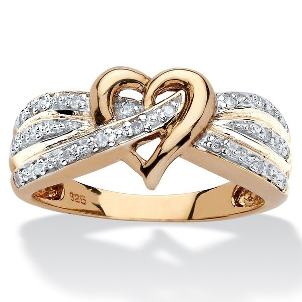 18k Yellow Gold over Sterling Silver 1/10ct TDW Round Diamond Crossover Heart Ring