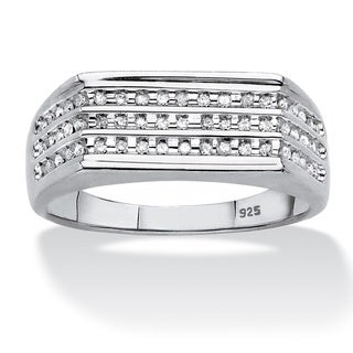 PalmBeach Platinum over Sterling Silver Men's 1/4ct TDW Channel-set Diamond 3-row Band (H-I, I2-I3)
