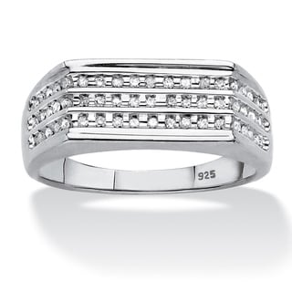 Platinum Over Sterling Silver Men S 1 4ct TDW Channel Set Diamond 3 Row Band H I I2 I3
