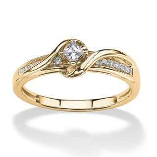 10k Yellow Gold 1/5ct TDW Princess-cut Diamond Swirl Ring - White