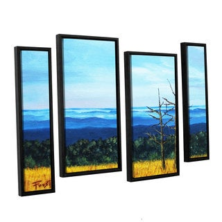 ArtWall Gene Foust 'Serene Mountain Tops' 4 Piece Floater Framed Canvas Staggered Set