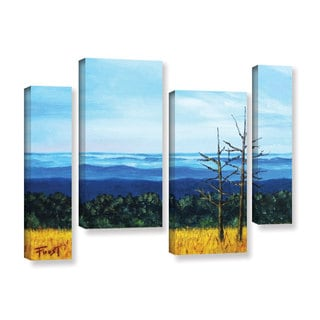 ArtWall Gene Foust 'Serene Mountain Tops' 4 Piece Gallery-wrapped Canvas Staggered Set