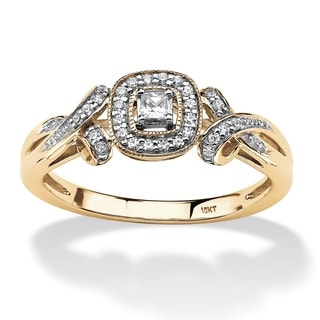 PalmBeach 10k Yellow Gold 1/6ct TDW Princess-cut Diamond Halo and Bow Ring (H-I, I2-I3)