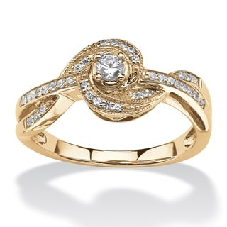 10k Yellow Gold 1/5ct TDW Diamond Knot Twist Ring (H-I, I2-I3)