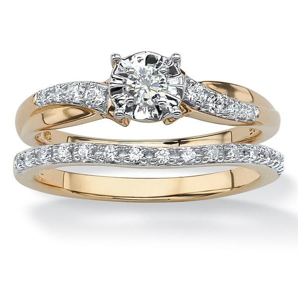 10k Yellow Gold 1/4ct TDW Round Diamond Bridal Ring Set (H-I, I2-I3) - White