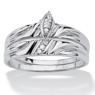 Platinum over Sterling Silver Round Diamond Accent Bridal Ring Set