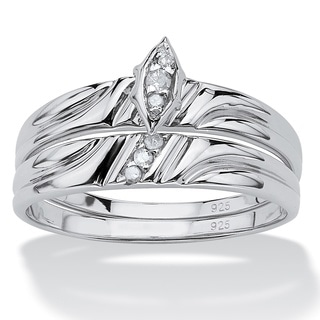 PalmBeach Platinum over Sterling Silver Round Diamond Accent Bridal Ring Set