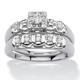 10k White Gold 1/4ct TDW Round Diamond Bridal Ring Set (I-J, I2-I3)