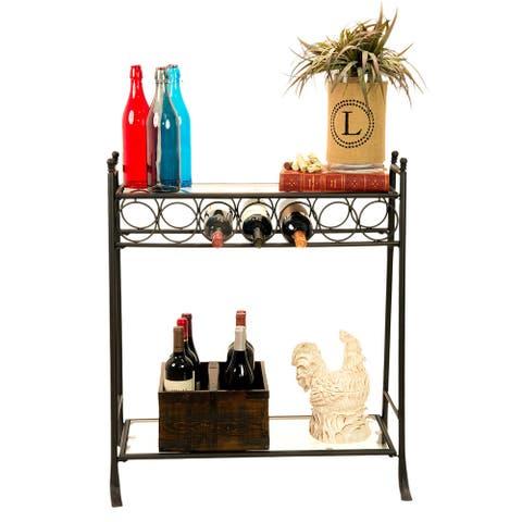 Dark Bronze Finish Wine Bottle And Accessory Table