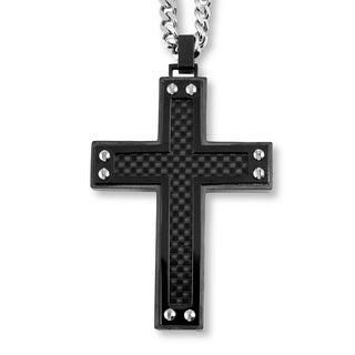 Crucible Blackplated Stainless Steel Black Carbon Fiber Inlay with Screw Accents Cross Pendants