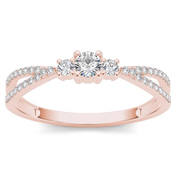 De Couer 10k Rose Gold 1/4ct TDW Diamond Three-Stone Anniversary Ring