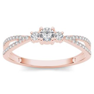 De Couer 10k Rose Gold 1/4ct TDW Diamond Three-Stone Anniversary Ring (H-I, I2)