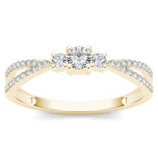 De Couer 10k Yellow Gold 1/4ct TDW Diamond Three-Stone Anniversary Ring