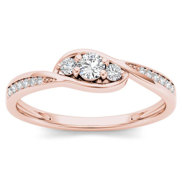 De Couer 10k Rose Gold 1/5ct TDW Diamond Bypass Cluster Engagement Ring - Pink