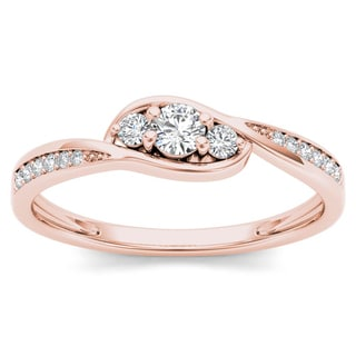 De Couer 10k Rose Gold 1/5ct TDW Diamond Bypass Cluster Engagement Ring