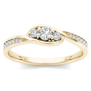 De Couer 10k Yellow Gold 1/5ct TDW Diamond Three-Stone Engagement Ring (H-I, I2)
