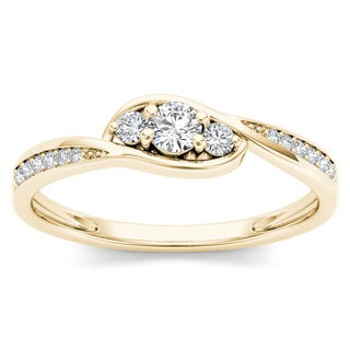 De Couer 10k Yellow Gold 1/5ct TDW Diamond Three-Stone Engagement Ring