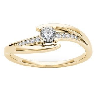 De Couer 10k Yellow Gold 1/10ct TDW Diamond Classic Bypass Engagement Ring