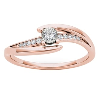 De Couer 10k Rose Gold 1/10ct TDW Diamond Criss-Cross Engagement Ring - Pink
