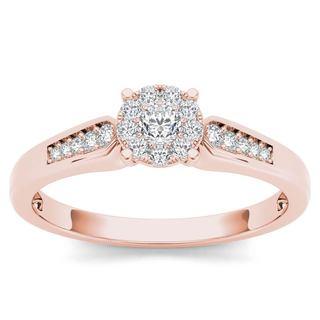 De Couer 10k Rose Gold 1/4ct TDW Diamond Cluster Engagement Ring