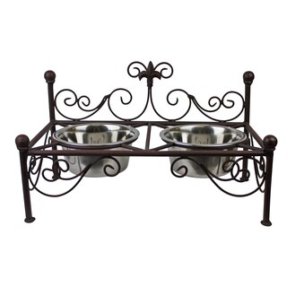 Antique Brown Fleur De Lis Iron Pet Feeder