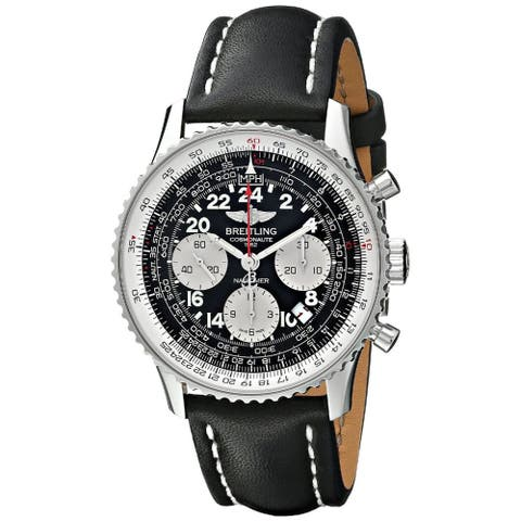 Breitling Men's AB021012-BB59LS 'Navitimer' Chronograph Automatic Black Leather Watch