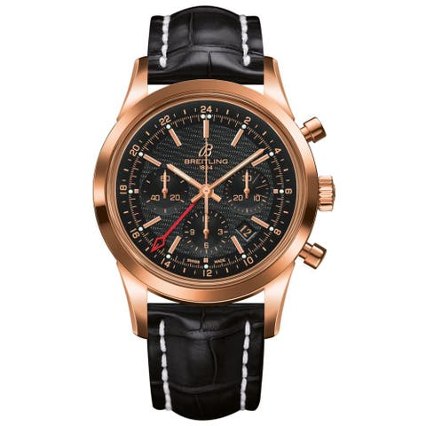 Breitling Men's RB045112-BC68 'Transocean' Automatic Chronograph 18 karat Rose gold and Black Leathe