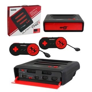 Retro-Bit Red/ Black 3-In-1 Home System Console For NES/ SNES/ Genesis